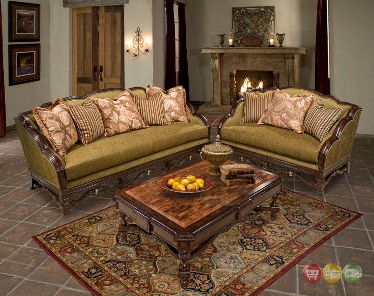 Alyssa traditional fabric sofa w exposed wood frame