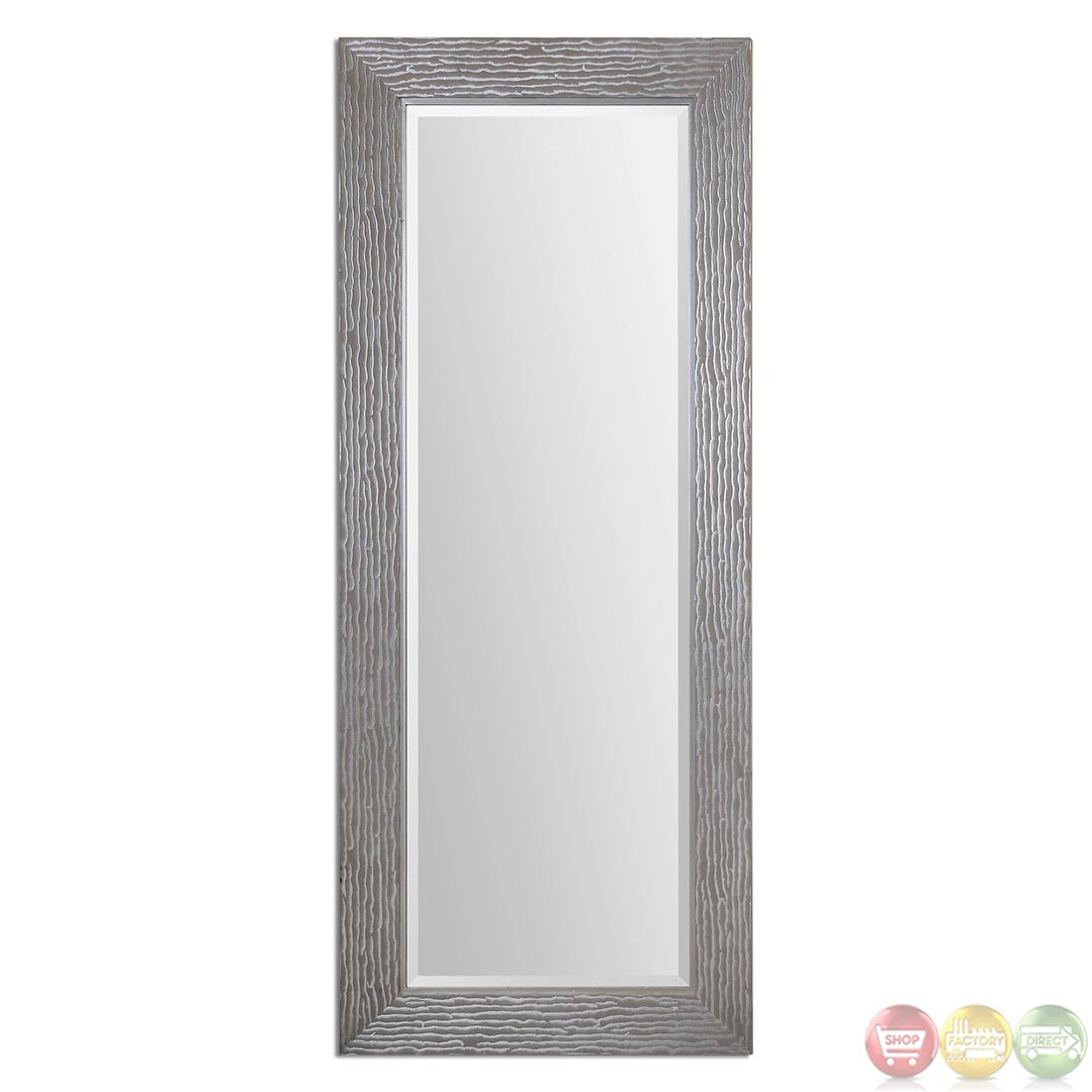 Amadeus contemporary metallic silver large mirror 14474 for Large silver modern mirror