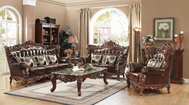 Amore Traditional Dark Brown Genuine Top Grain Leather Living Room