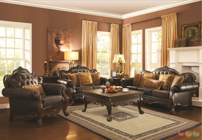 Traditional Dark Brown Faux Leather Sofa and Loveseat Set