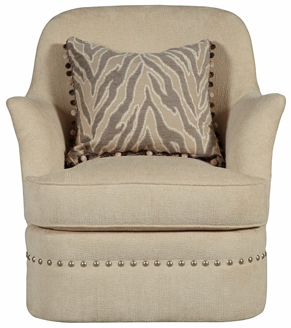 Amanda Ivory Transitional Ribbed Texture Swivel Chair