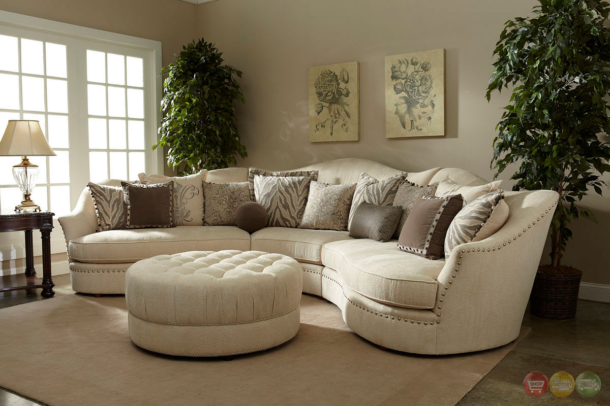amanda transitional curved ivory sectional sofa w loose pillow back a r t. Black Bedroom Furniture Sets. Home Design Ideas