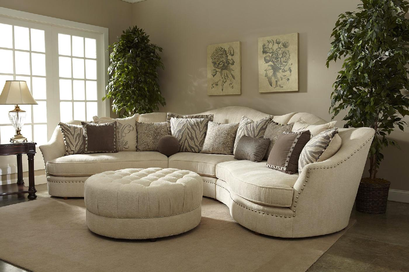 Ivory sectional sofa curved sectional shop factory direct for Sectional couch