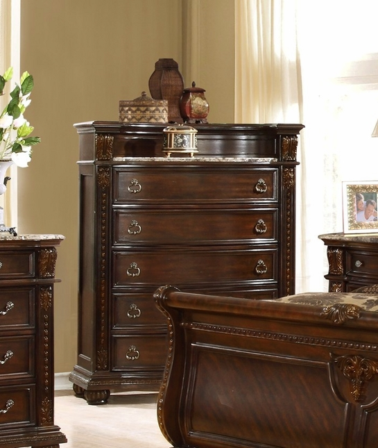 Amber French Provincial Luxury 5-drawer Chest In Dark Cherry Finish