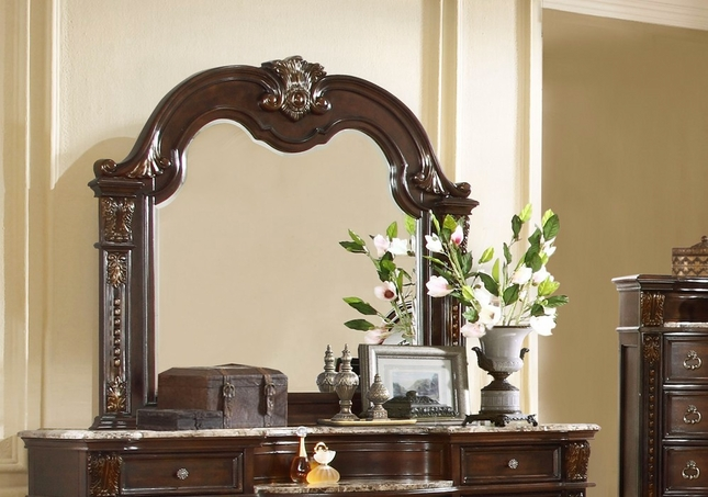 Amber French Provincial Luxury Mirror In Dark Cherry Finish