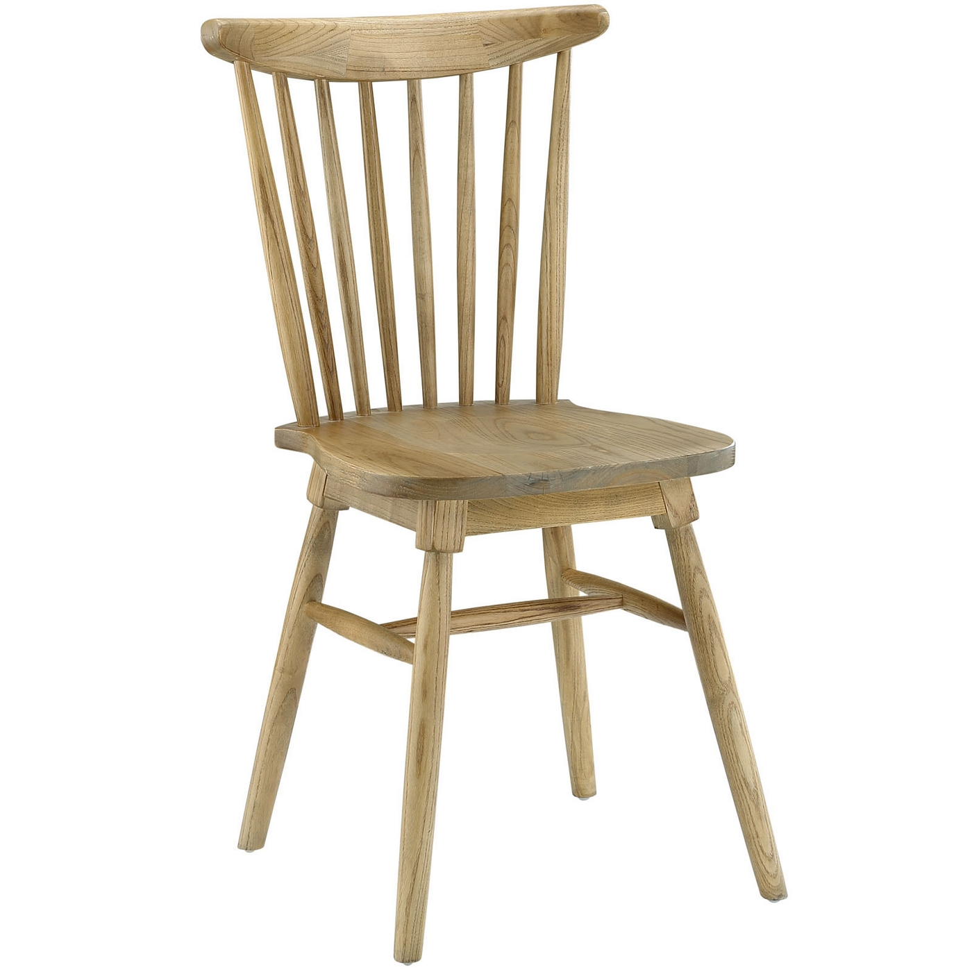 Amble modern country inspired spindled wood dining side for Natural wood dining chairs