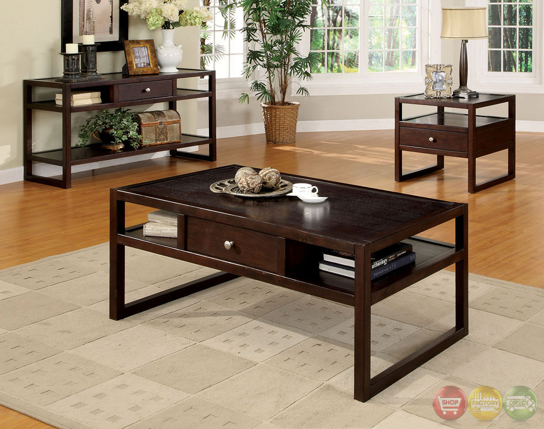 Ambrose Contemporary Espresso Accent Tables With Drawer