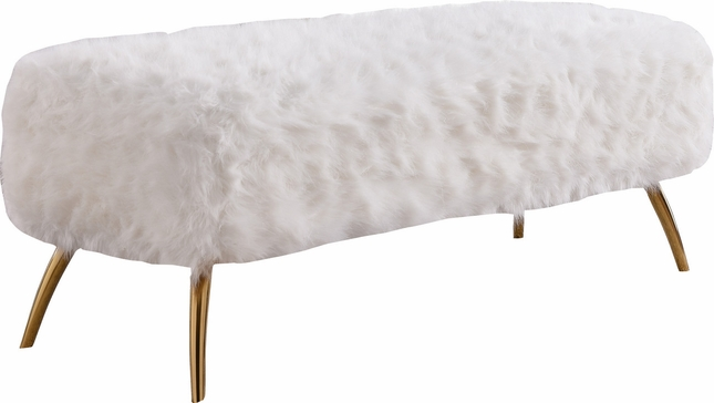 Amelia Contemporary White Plush Faux Fur Bench With Curved Stainless Gold Legs