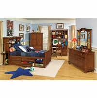 American Spirit Brown Cherry Finish Full Bookcase Youth Bed