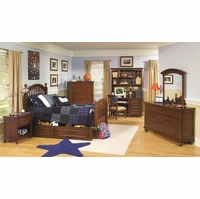 American Spirit Brown Cherry Finish Low Poster Full Youth Bed