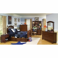 American Spirit Brown Cherry Finish Low Poster Twin Youth Bed