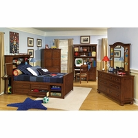 American Spirit Brown Cherry Finish Youth Bookcase Twin Bed