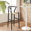 Amish Contemporary Solid Wood Bar Stool With Twined Seating, Black