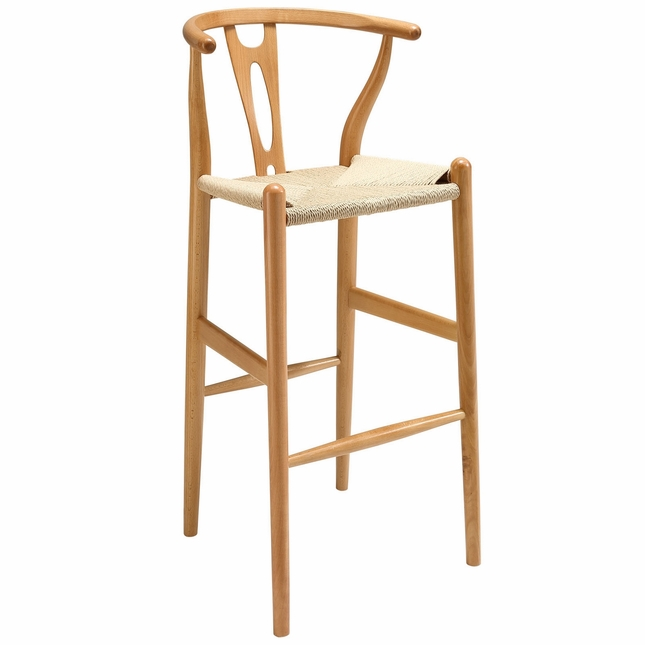 Amish Contemporary Solid Wood Bar Stool With Twined Seating, Natural