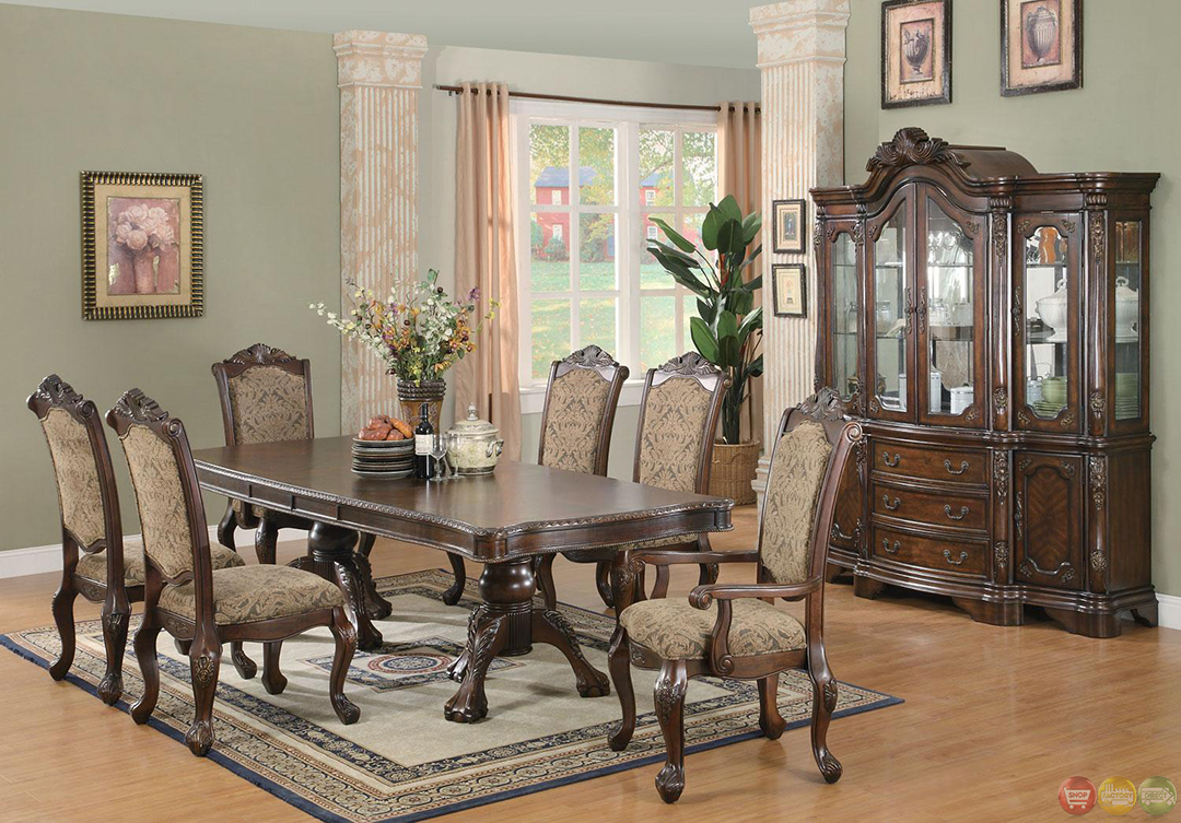 andrea cherry finish formal dining room table set. Black Bedroom Furniture Sets. Home Design Ideas