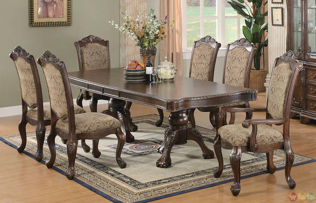 Dining Table Sets ~ Andrea cherry finish formal dining room table set