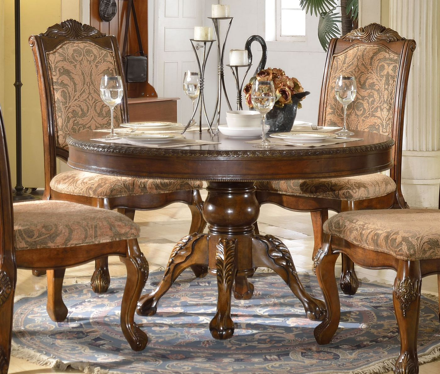 """Andrea Cherry Finish Formal Dining Room Table Set: Andrea Formal 54"""" Round Dining Table With Traditional"""