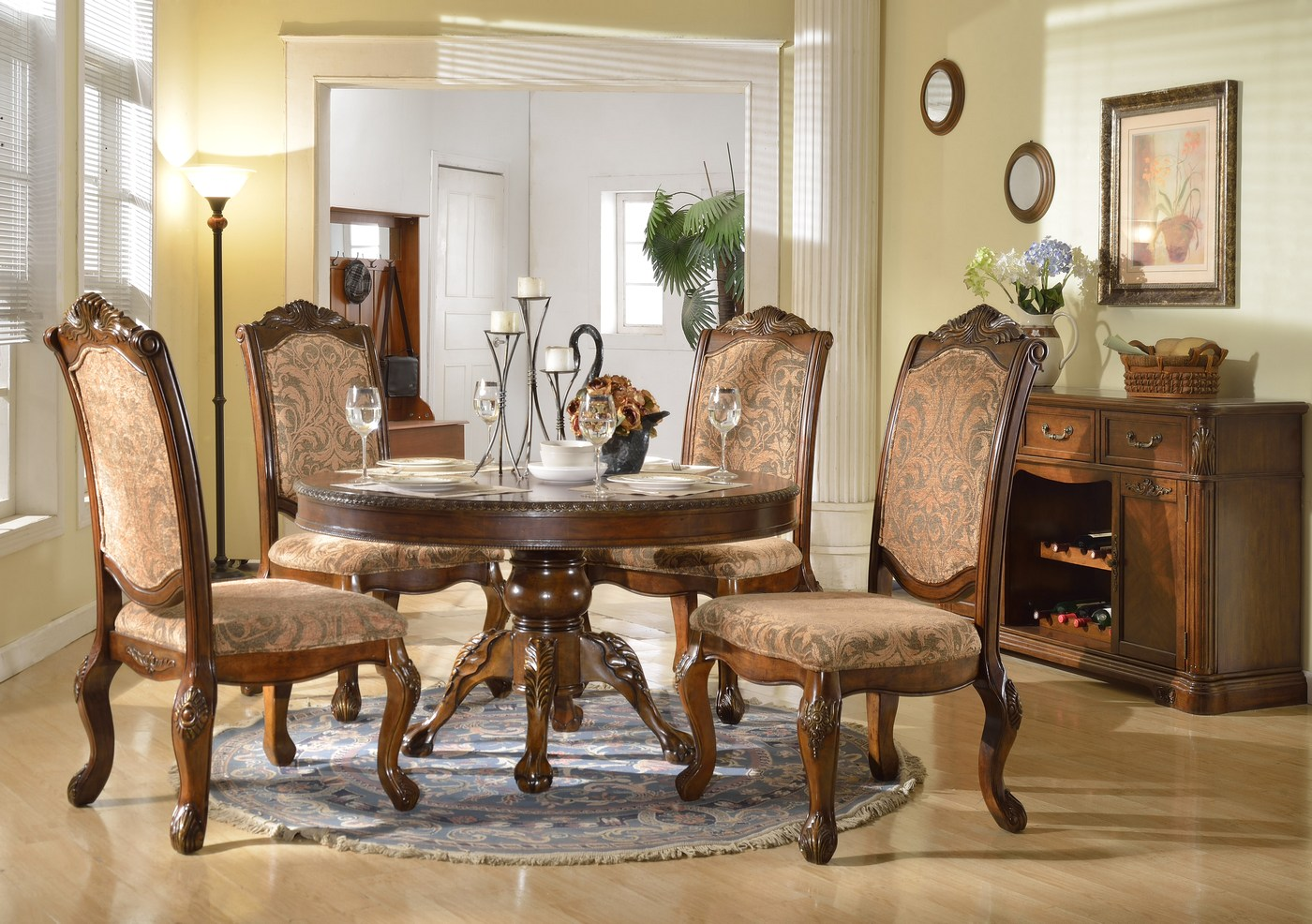 Andrea formal 54 round dining table with traditional for Fancy round dining table