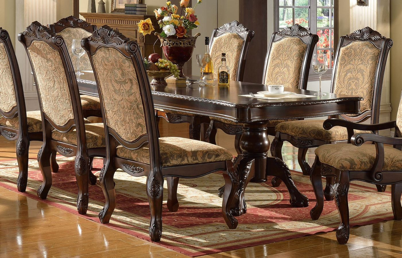 Andrea traditional double pedestal rectangular dining for Double t dining plan