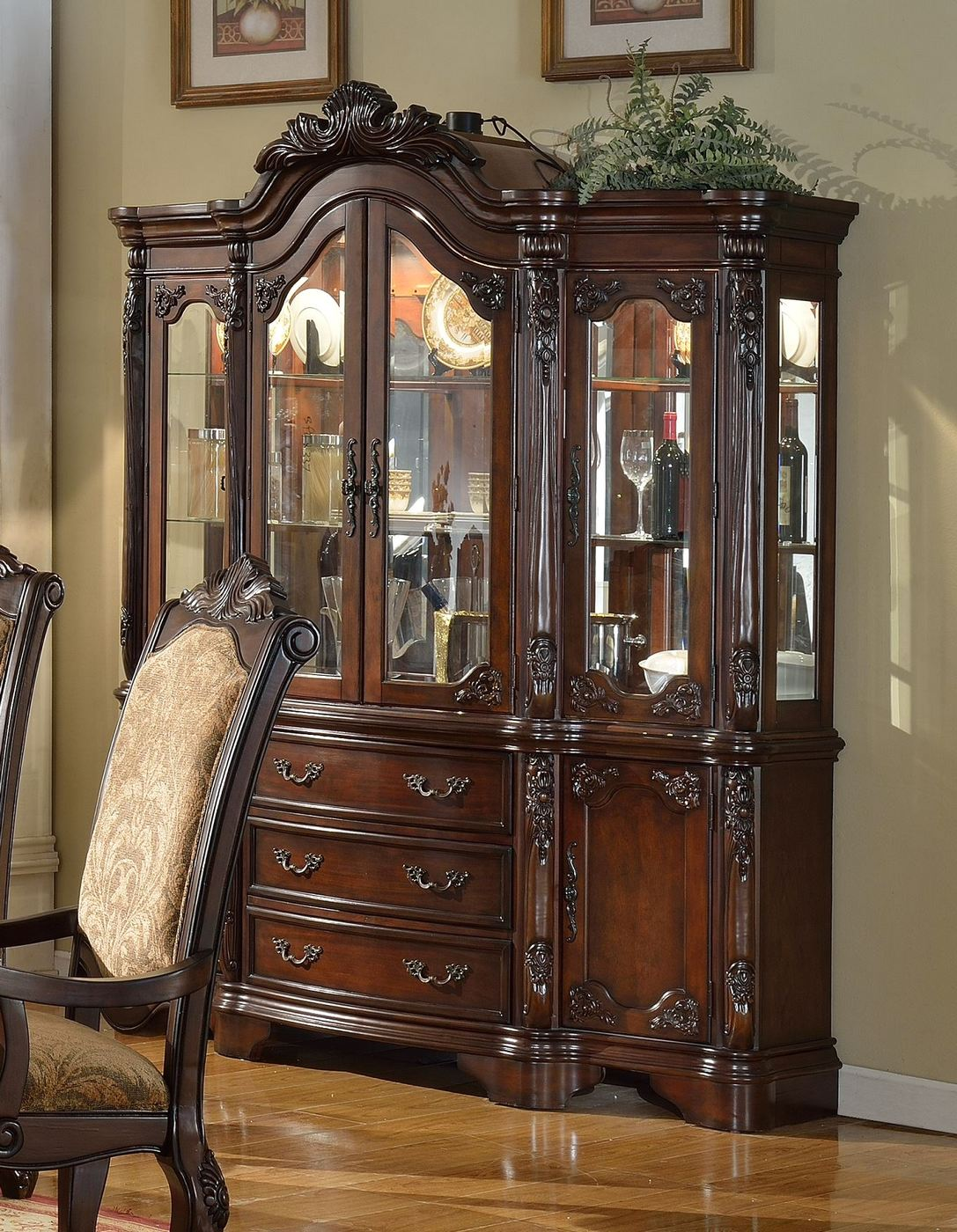 Andrea Traditional Formal China Cabinet With Dark Brown Finish