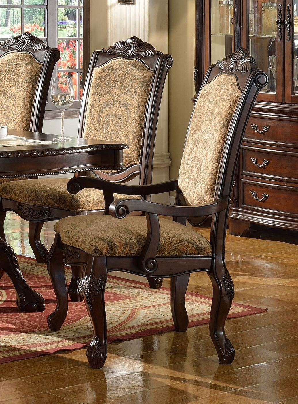 Set Of 2 Andrea Upholstered Wooden Arm Chair In