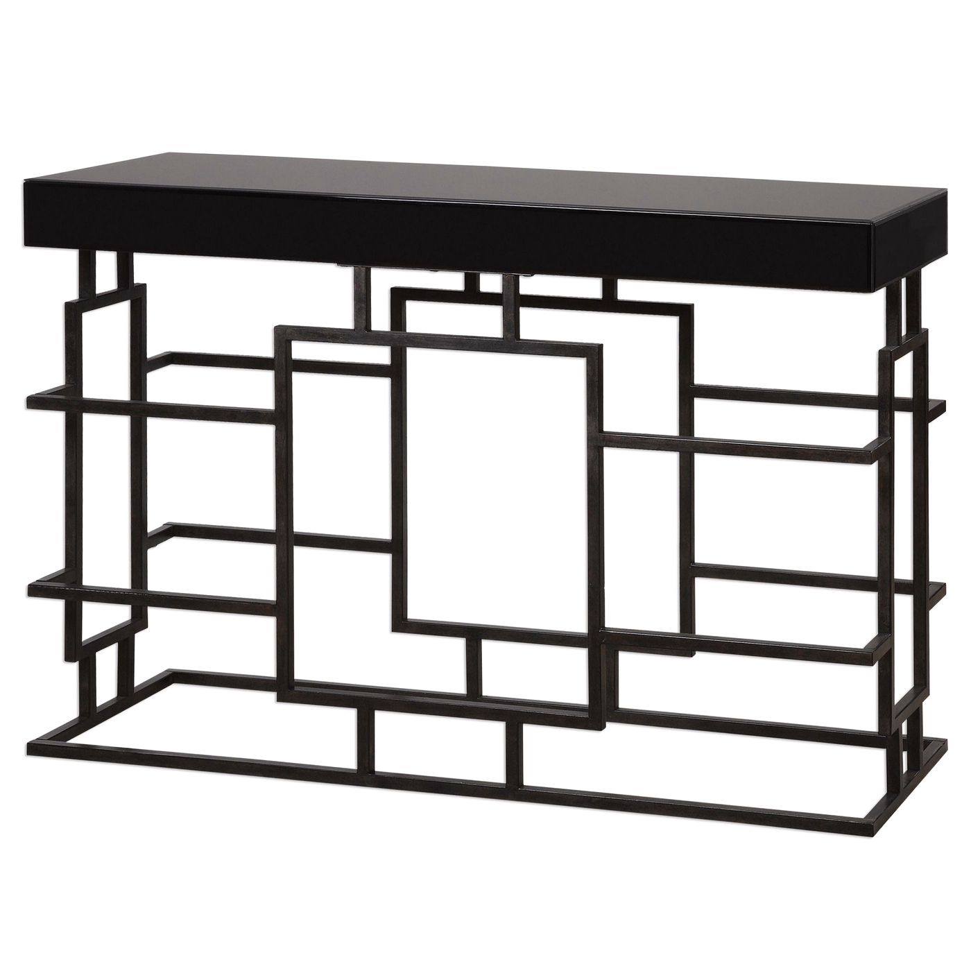 Andy stylish black console table in geometric iron frame