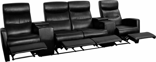 Anetos Series 4-seat Reclining Black Leather Theater Seating Unit W/ Cup Holders