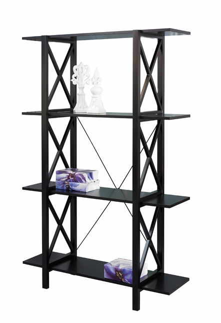 Anna Mission Style Antique Black Finish Bookcase