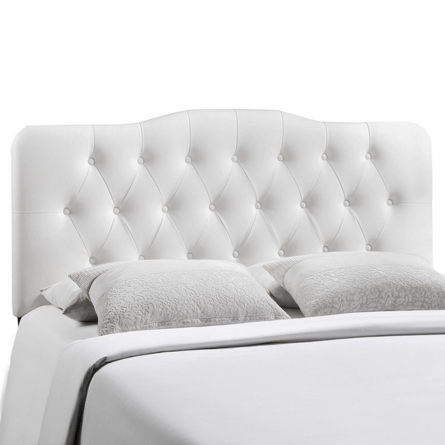 Annabel Faux Leather Button Tufted Arched Full Headboard