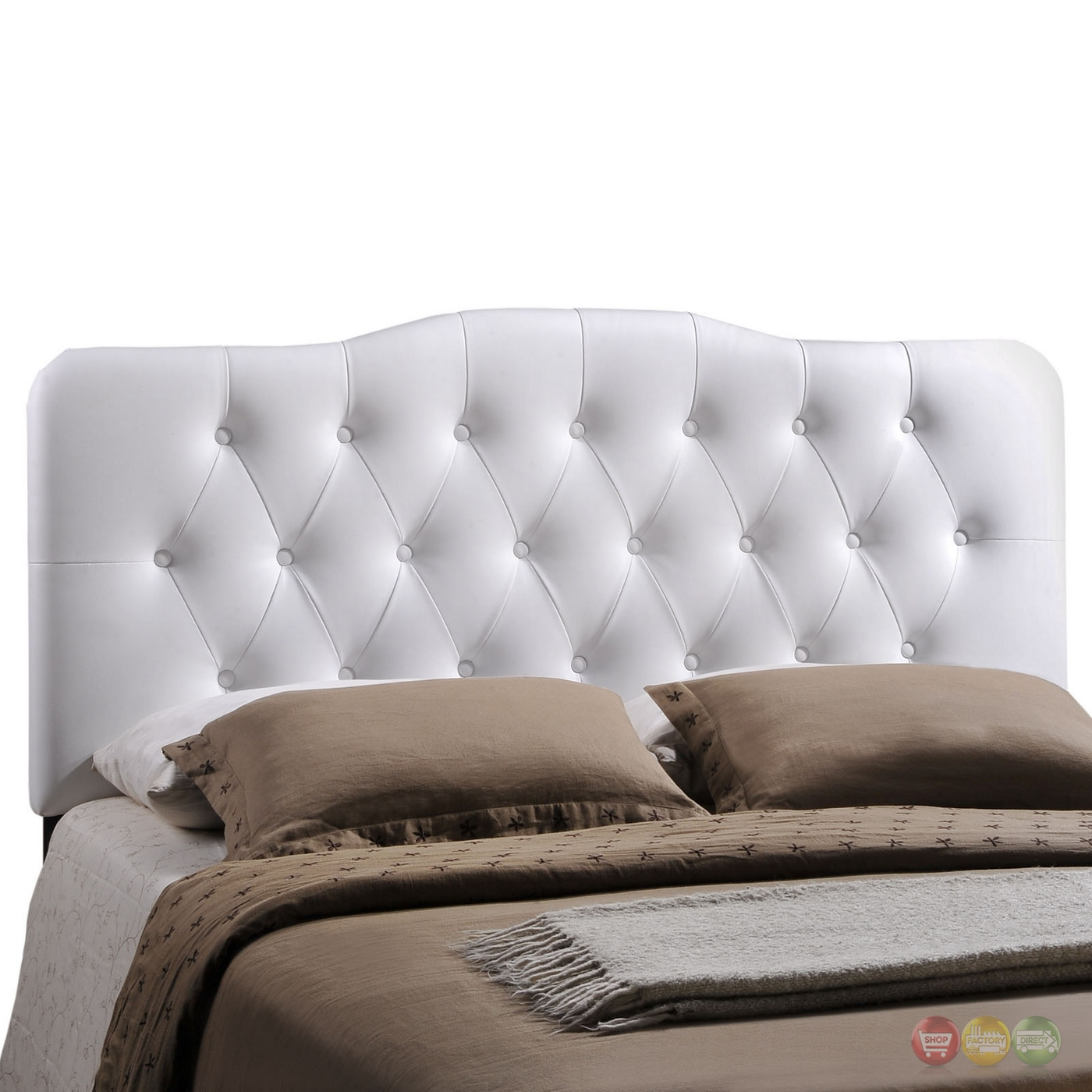 annabel faux leather button tufted arched queen headboard white. Black Bedroom Furniture Sets. Home Design Ideas