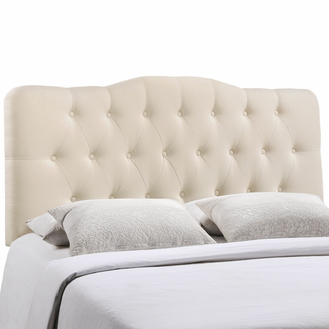 Annabel Modern Fabric Button-tufted Arched King Headboard, Ivory