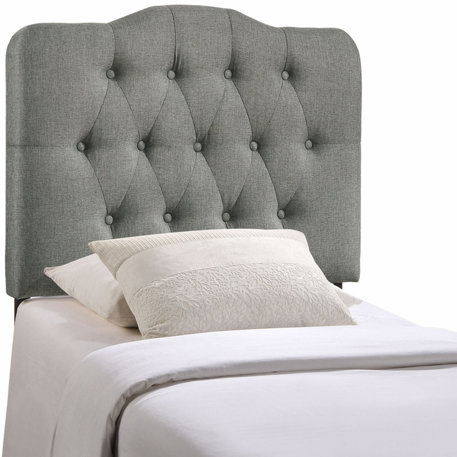 Annabel Modern Fabric Button-tufted Arched Twin Headboard, Gray