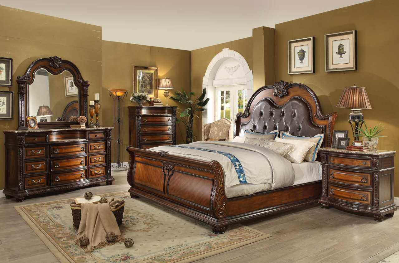 annabelle french provincial 4 pc california king sleigh bed set in cherry. Black Bedroom Furniture Sets. Home Design Ideas
