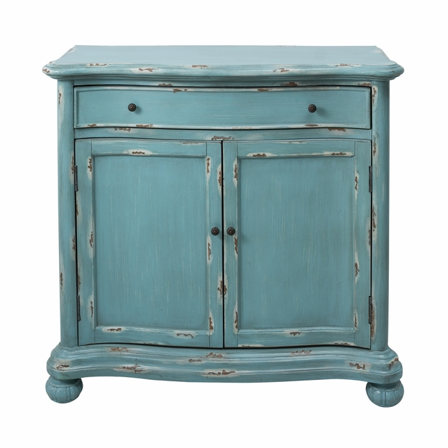 Annadale French Country Distressed Blue Accent Cabinet With Drawer U0026 Bun  Feet