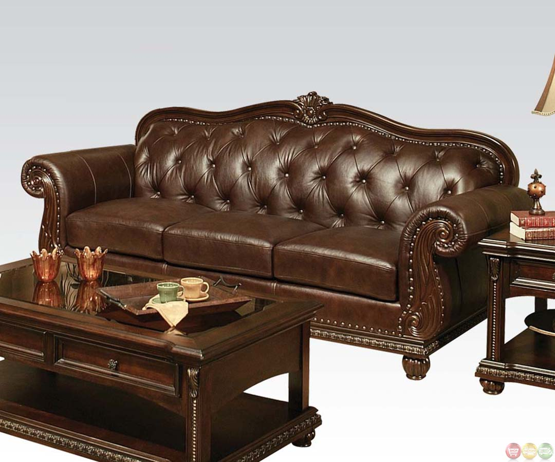 Anondale brown button tuft leather upholstery sofa set for Brown couch set