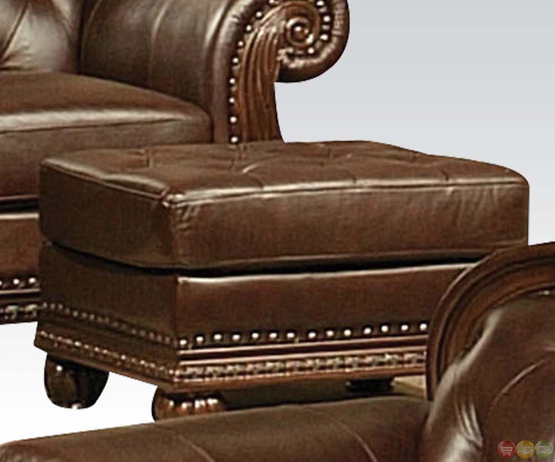 anondale brown button tuft leather upholstery sofa set