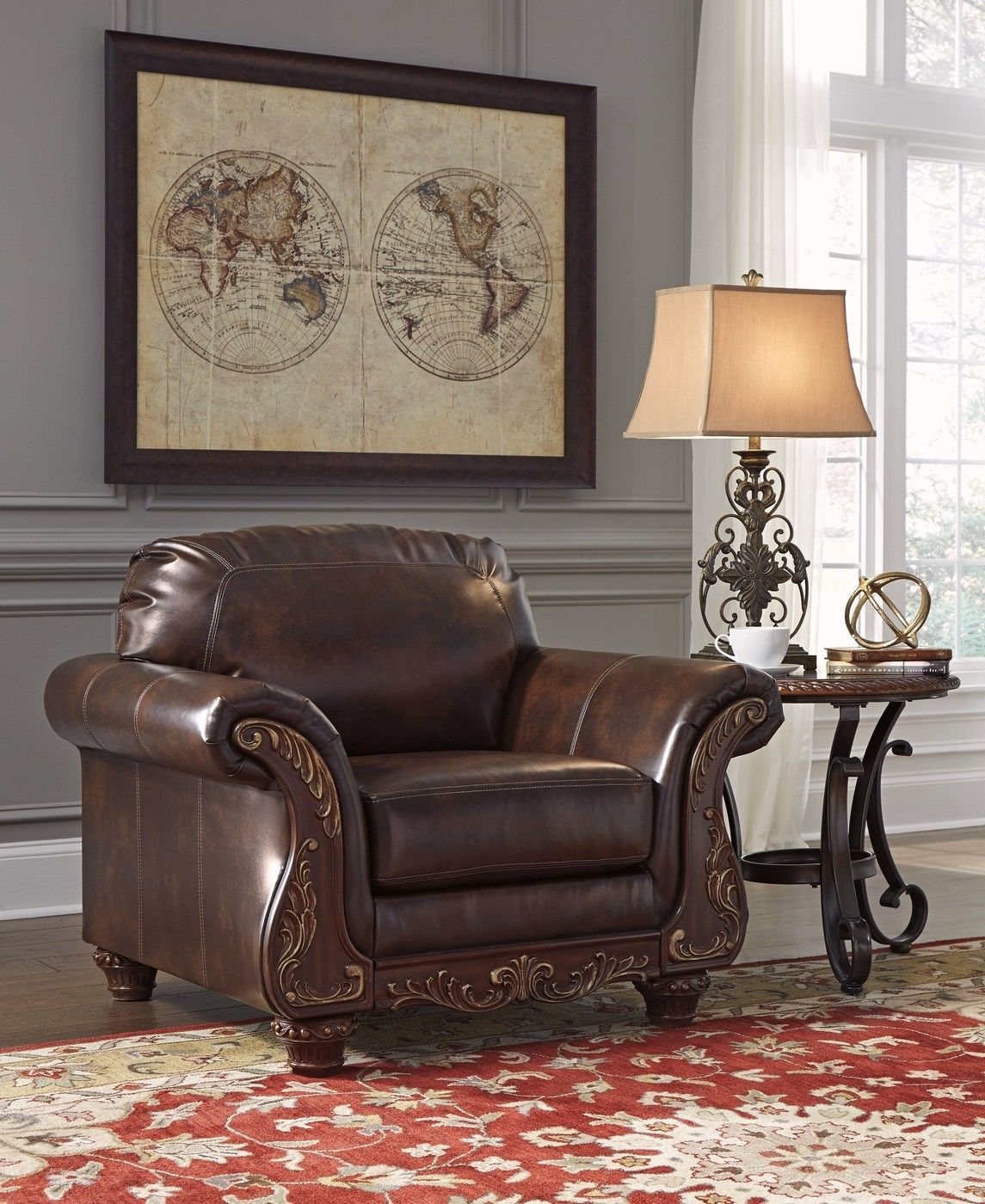 Traditional Living Room Sofa Sets: Vanceton Brown Leather Traditional Wood Sofa & Loveseat