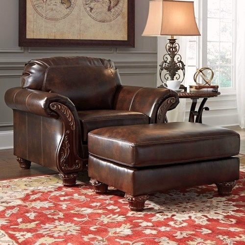 Traditional Living Room Leather Furniture: Vanceton Brown Leather Traditional Wood Sofa & Loveseat