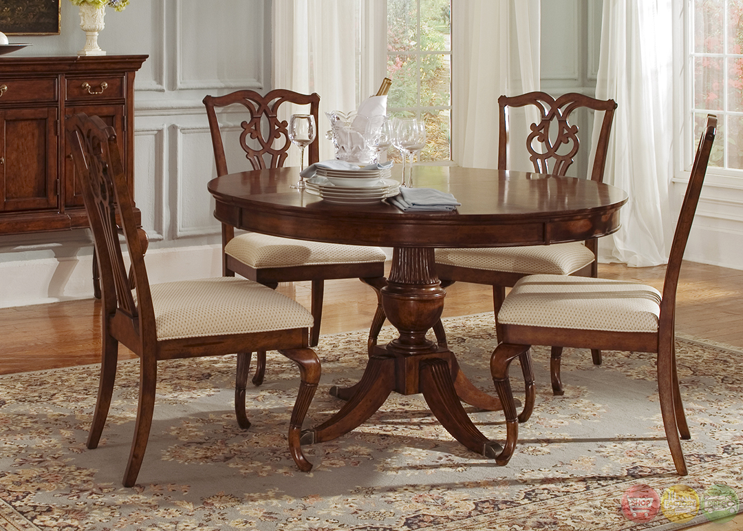 Ansley manor round formal dining room furniture set for Round dining table set