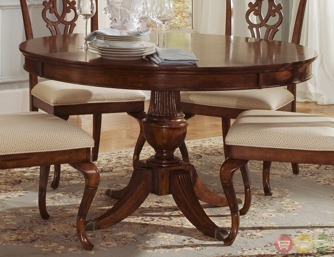 Ansley manor round formal dining room furniture set for Formal dining room furniture