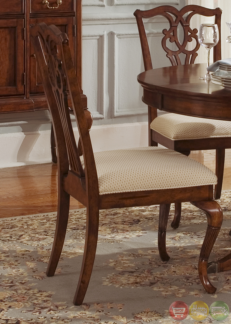 Ansley manor round formal dining room furniture set for Round formal dining room sets for 8
