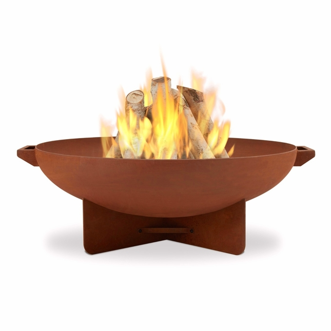 "Anson Outdoor 31.75"" Steel Fire Bowl In Powder Coat Brown Rust"