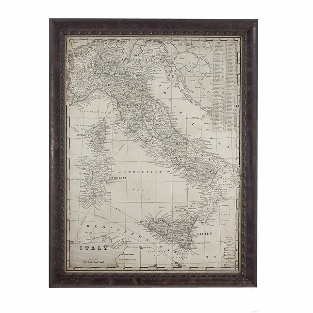 Antique Map of Italy Framed Wall Art 9900-346EC