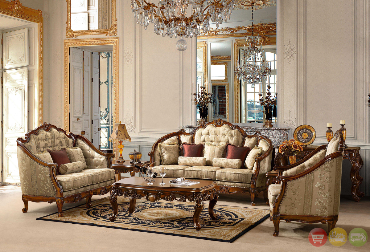 Antique style luxury formal living room furniture set hd 953 for Living room furnishings