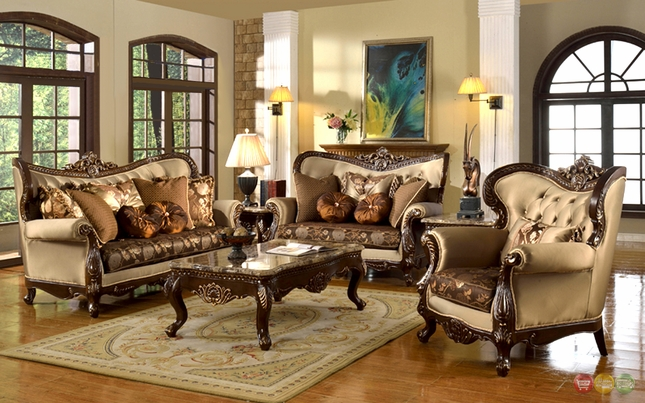 Antique Style Traditional Formal Living Room Furniture Set Beige & Brown - Style Traditional Formal Living Room Furniture Set Beige & Brown