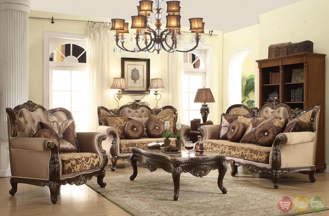 breathtaking french style living room furniture | Antique Style Wing Back Sofa & Love Seat French Provincial ...
