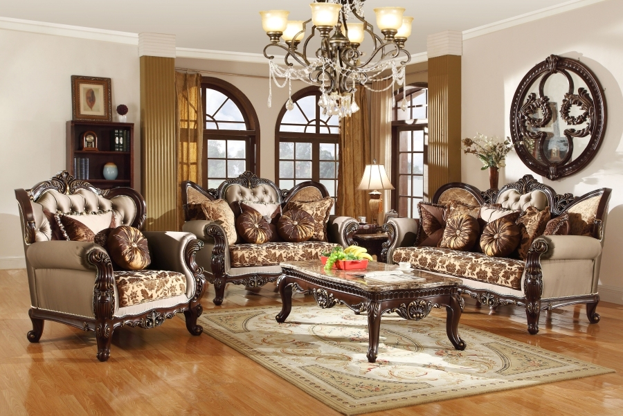 Antique Style Wing Back Sofa Love Seat French Provincial Living Room Set