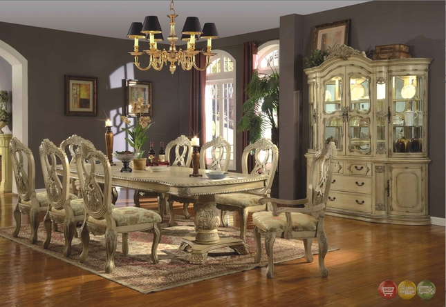 Beau Antique White Traditional Formal Dining Room Furniture Set