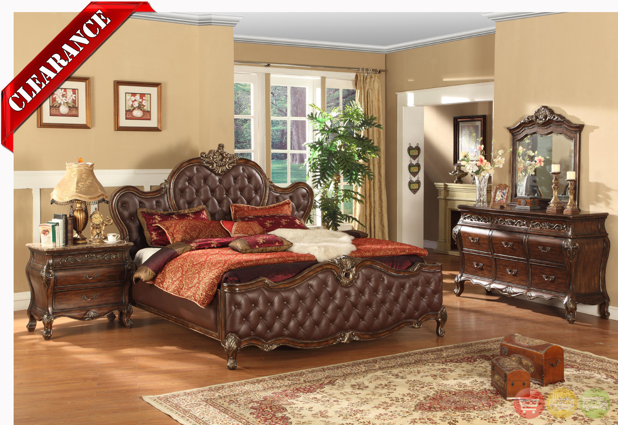 Antoinette antique brown tufted leather traditional bedroom set free shipping for Brown leather bedroom furniture