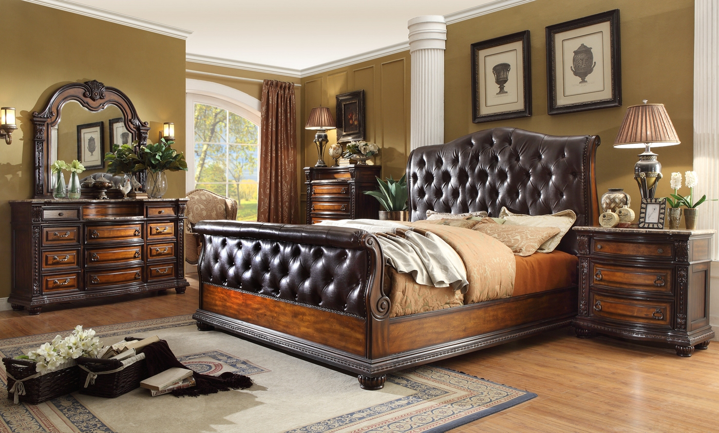 leather bedroom set antique brown button tufted leather bedroom set 12067